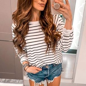 Tops - Stripes women lightweight long sleeve shirt tops